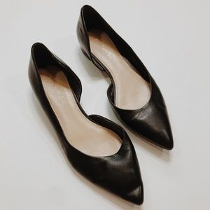 • VIA SPIGA • black leather pointed toe flats